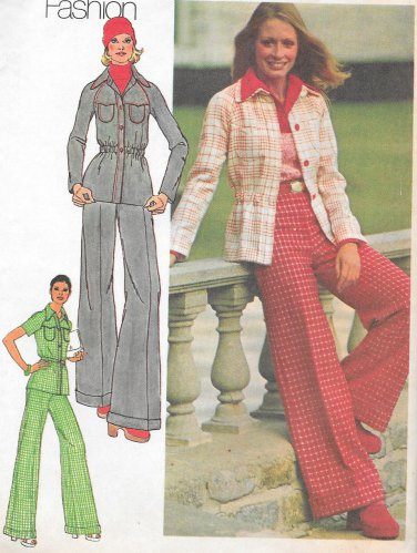 1970s Simplicity Shirt Jacket Flared Pants Size 12 Vintage Sewing Pattern 5750