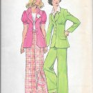 1970s Simplicity V Neck Jacket Flared Pants Size 12 Vintage Sewing Pattern 5642