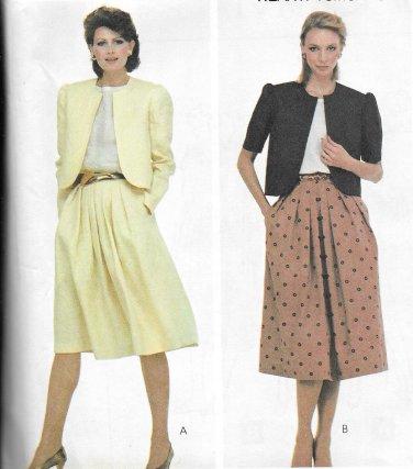 1980s McCalls Below Waist Jacket Pleated Full Skirt Size 14 Vintage Sewing Pattern 7910