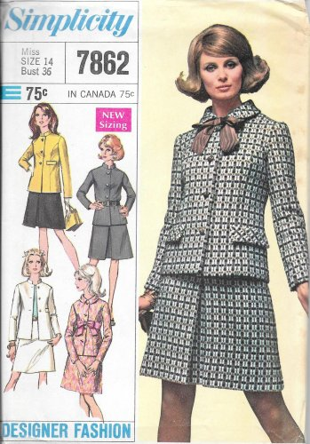 1960s Simplicity Inverted Pleat Skirt Princess Line Jacket Size 14 Pattern 7862