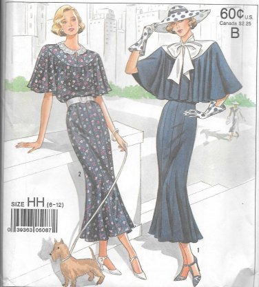 1980s Simplicity Eight Gore Skirt Capelet Dress Size 6 8 10 12 Vintage Sewing Pattern 9360