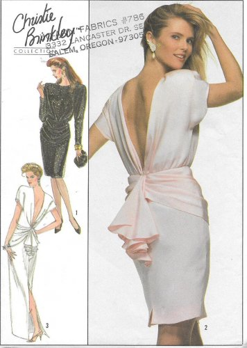 1980s Simplicity Christie Brinkley Open Low Back Evening Dress Size 10 Vintage Sewing Pattern 8944