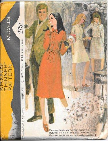 1970s McCalls Straight Elastic Waist Dress Size 10 Vintage Sewing Pattern 2757