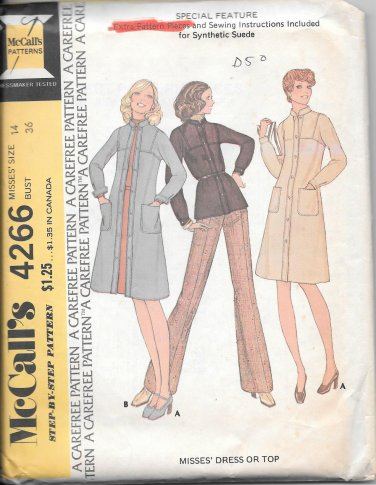1970s McCalls Yoked Straight Top Shirt Dress Size 14 Vintage Sewing Pattern 4266