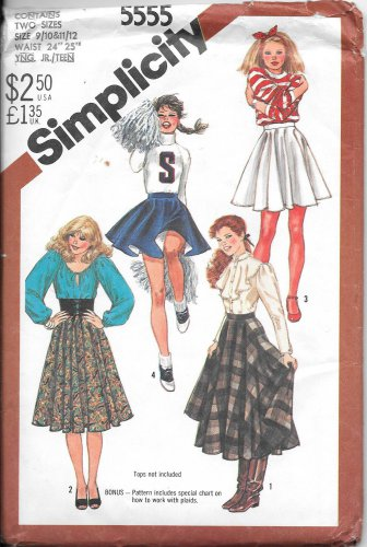 1980s Simplicity Full Circle Cheer Leader SKirt Size 9/10 11/12 Vintage Sewing Pattern 5555