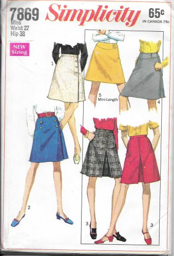 1960s Simplicity Front Wrap Inverted Pleat Skirt Waist 27 Hip 38 Vintage Sewing Pattern 7869