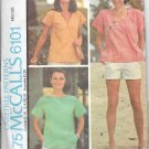 1970s McCalls Round V Neck T Shirt X Large Vintage Sewing Pattern 6101