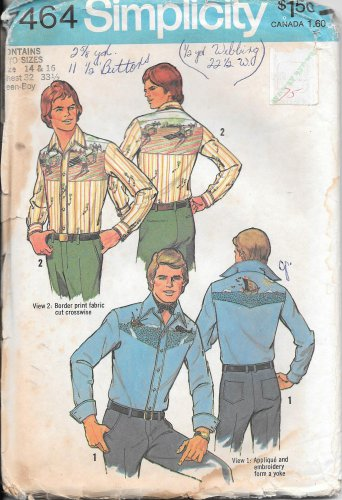 1970s Simplicity Embroidery Applique Shirt Boys Men Size 14 16 Pattern 7464