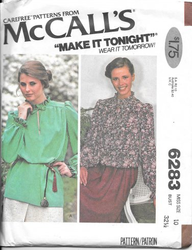 1970s McCalls Pullover Long Sleeved Blouse Size 10 Vintage Sewing Pattern 6283