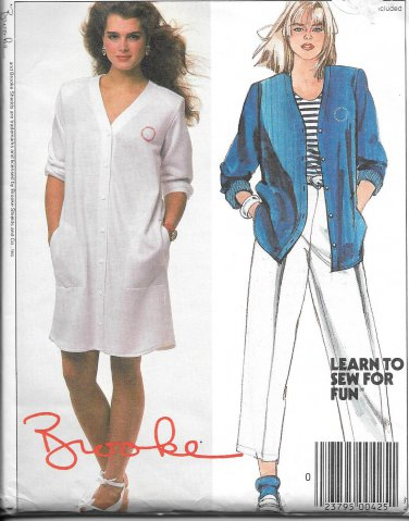 1980s McCalls Straight Shirt Dress Top Pants Size 10 Vintage Sewing Pattern 9438