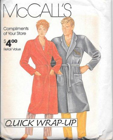 1980s McCalls Women Men Bath Robe Size S M L XL Vintage Sewing Pattern 0011
