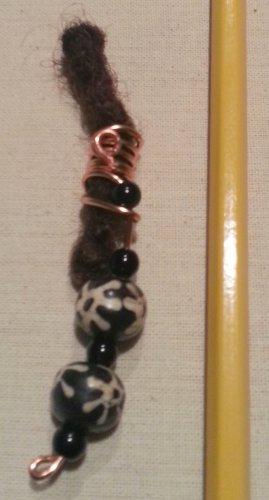 Dreadlock Jewelry Hair Accessory Black and White Bead Gypsy Bohemian