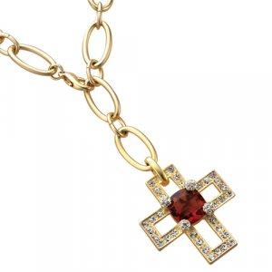 Necklace Ruby Crystal Cross W/Earrings