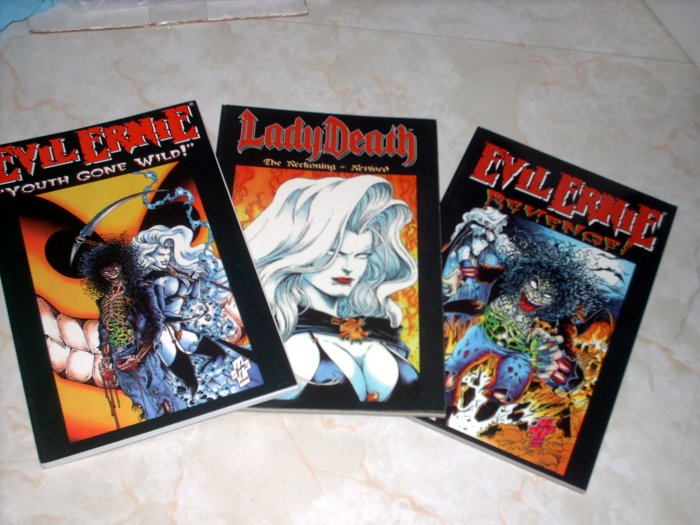 LADY DEATH / EVIL ERNIE TRADE PAPERBACK LOT + SHIPS FREE