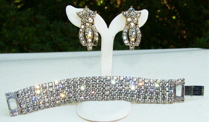 Vintage Sparkling Line Bracelet & Earrings