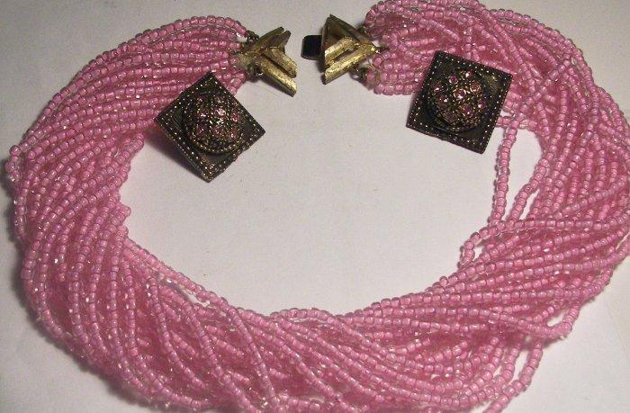 Vintage Pink Parfait Multi Row Necklace & Earrings