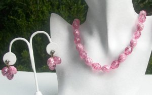 Pink Cotton Candy Swirling LUCITE Necklace & Earrings