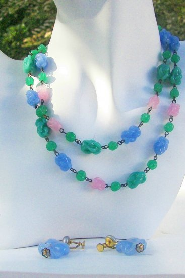 Vintage Necklace & Earrings Blue, Pink, Green Summer Set