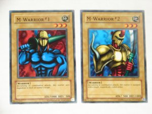 Yu-Gi-Oh cards M-Warrior #1 and #2