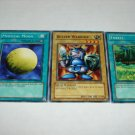 Yu-Gi-Oh cards Mystical Moon. Beaver Warrior, and Forest