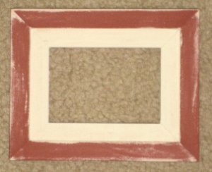 ACEO HAND MADE WOOD PICTURE FRAME 2½X3½ Barn Red over White