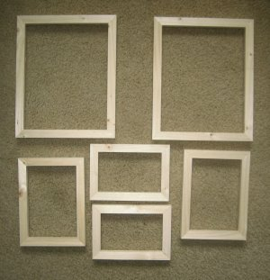 6 UNFINISHED WOOD PICTURE FRAMES ASSORTMENT NEW