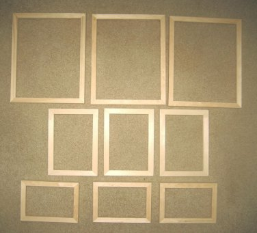 Picture frames (9) unfinished assortment FREE SHIPPING