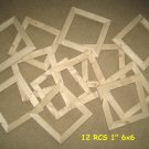 "12 unfinished 6x6 wood picture frames in a 1"" wide rough cut moulding"