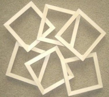 """Unfinishe picture frames six 6x6's in a 5/8"""" wide moulding"""
