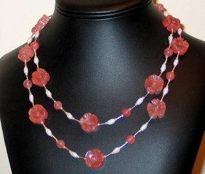Awesome Cherry Quartz & Pearl Boho Style Nk.- FreeS/H