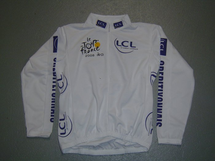 TOUR DE FRANCE WHITE CYCLING BIKE JERSEY SZ XL