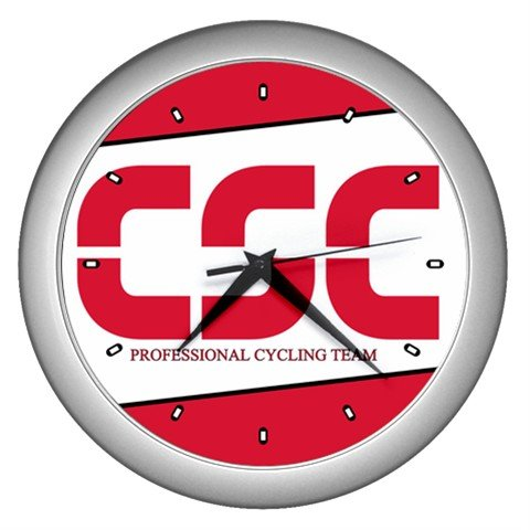 CSC PROFESSIONAL CYCLING CYCLE BIKE TEAM SILVER WALL CLOCK NEW (FREE SHIPPING!!)