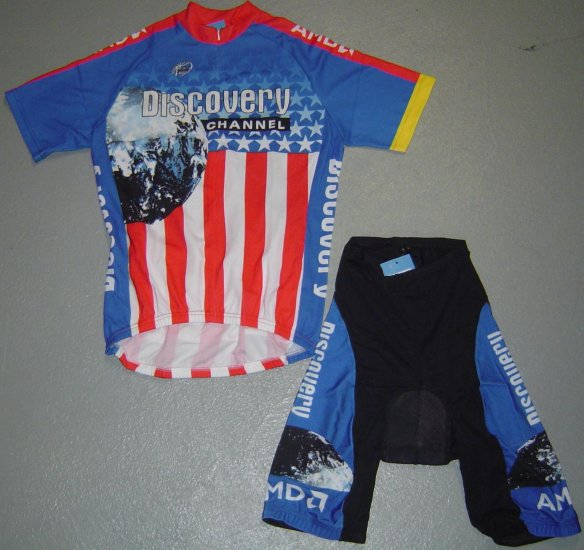 DISCOVERY CHANNEL US CHAMP CYCLE JERSEY SHORT KIT SZ XL