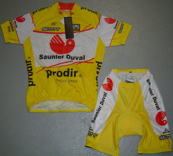 SAUNIER DUVAL CYCLING CYCLE JERSEY AND SHORTS KIT SZ XL
