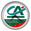 CREDIT AGRICOLE PRO CYCLING TEAM SILVER WALL CLOCK NEW (FREE SHIPPING!!)