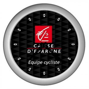 CAISSE D`EPARGNE PRO CYCLING TEAM SILVER WALL CLOCK NEW (FREE SHIPPING!!)