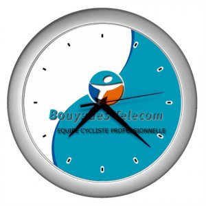 BOUYGUES TELECOM PRO CYCLING TEAM SILVER WALL CLOCK NEW (FREE SHIPPING WORLDWIDE!!)