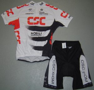 CSC TEAM CYCLING JERSEY AND SHORTS KIT SZ L