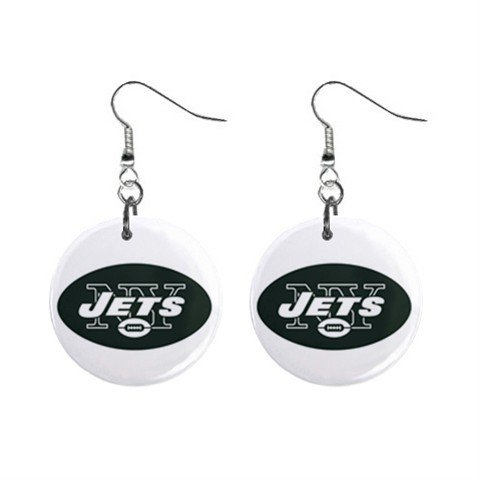 NEW YORK JETS NFL BUTTON EARRINGS (WORLDWIDE FREE SHIPPING!!)