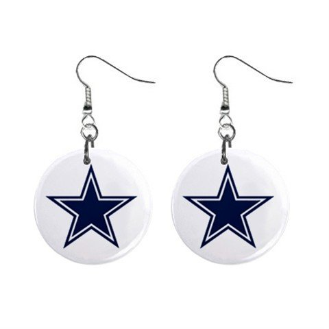 DALLAS COWBOYS NFL BUTTON EARRINGS (WORLDWIDE FREE SHIPPING!!)