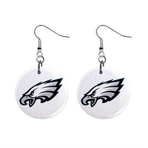 PHILADELPHIA EAGLES NFL BUTTON EARRINGS (WORLDWIDE FREE SHIPPING!!)