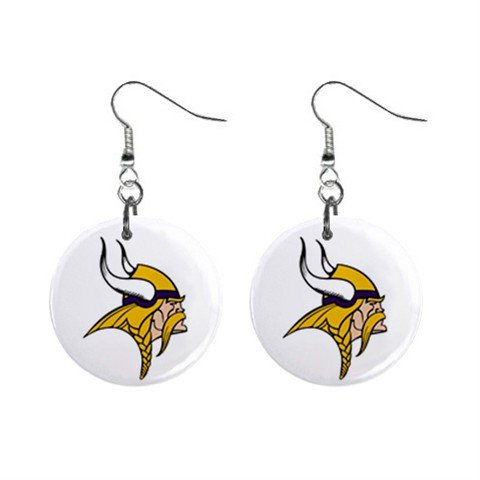 MINNESOTA VIKINGS NFL BUTTON EARRINGS (WORLDWIDE FREE SHIPPING!!)