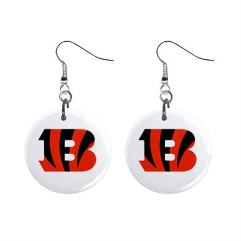 CINNCINNATI BENGALS NFL BUTTON EARRINGS (WORLDWIDE FREE SHIPPING!!)