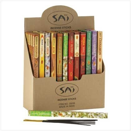 Deluxe Incense Display case with 60 packs of incense.