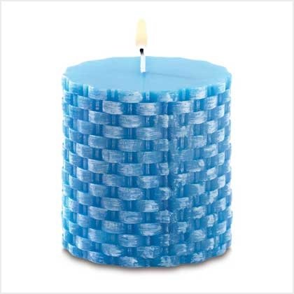 Island Blue Basketweave Candle in the scent of rum