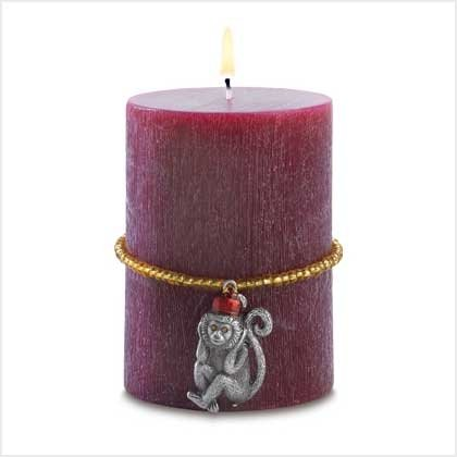 Tropical Safari Monkey Pillar Candle in Tropical Paradise Scent