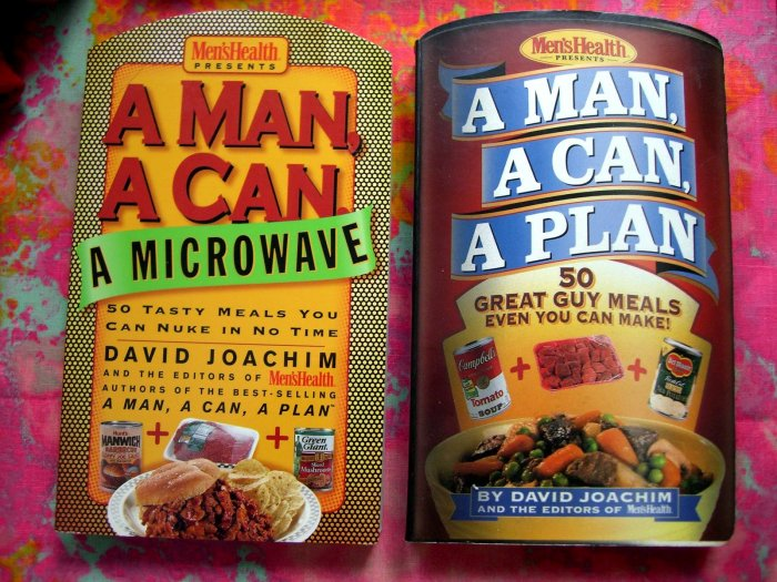 SOLD! A Man, a Can, a Plan 50 + Microwave Great Easy Guy Meals Cookbook from Men's Health LOT