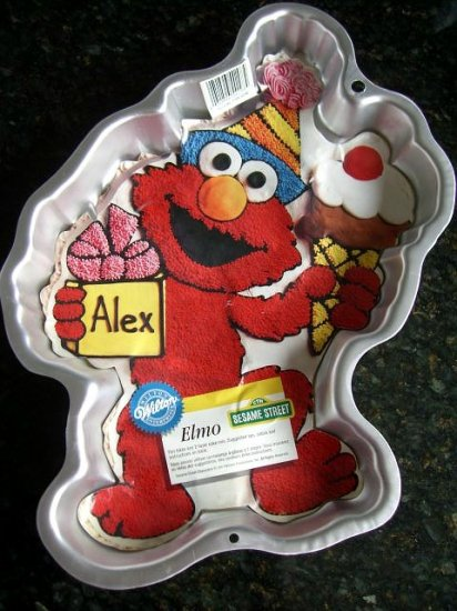 SOLD! WILTON CAKE PAN ELMO from SESAME STREET with INSERT EXCELLENT! #2105-4298