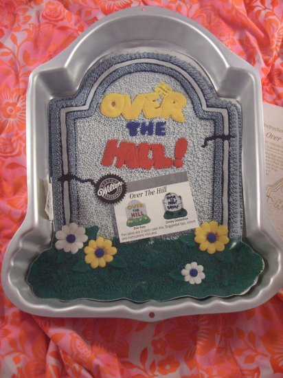 SOLD!  WILTON CAKE PAN OVER THE HILL /TOMBSTONE with INSERT BIRTHDAY  #2105-1237