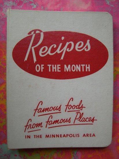 "SOLD! ""Recipes of the Month"" Cookbook Rare Minneapolis Minnesota (MN) Hotel & Restaurant  1953"